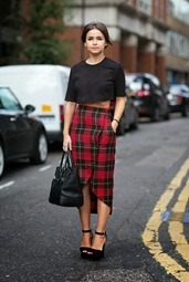 Miroslava Duma - Plaid Skirt - LFW 2013